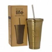 Termos cafea inox FrappeFredo cu pai din metal 480 ml EcoLife Culoare - Bronz