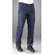 BEN BRIX 5 Pocket Thermo Jeans, Farbe blau mit kariertem Innenfutter, Gr. 50