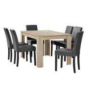 PremiumXL - [en.casa] Elegantan blagovaonski set - stol(hrast/svijetlo smeđa) + 6 stolica (tamno siva)