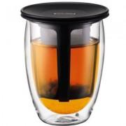 Bodum Doppelwandiges Teeglas mit Kunsstofffilter Schwarz