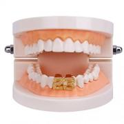 ELECTROPRIME Num 23 Hip Hop Golden Zircon Hollow Teeth Caps Mouth Grills Joker Grill
