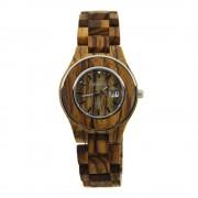 Bewell Ladies Bamboo Zebra Wood Watch