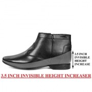 BXXY 9 cm (3.5 Inch) Black Height Increasing Formal And Casual Pu Leather Boots for All Ocassions