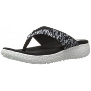 Skechers Cali Women's Burst - Jubilation Flat Sandal, Black/White, 10 M US