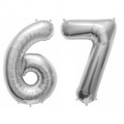 De-Ultimate Solid Silver Color 2 Digit Number (67) 3d Foil Balloon for Birthday Celebration Anniversary Parties