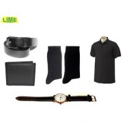 Black Polo T Shirt With Free Leather Belt Wallet Watch 2 Pair Of Socks
