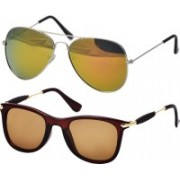 Freny Exim Aviator Sunglasses(Golden, Brown)