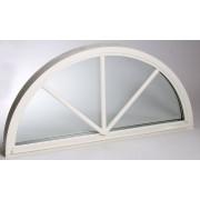 Dala Dörren Fönster Halvrunt 1380x690mm Fast Vit 3-Glas Spröjs