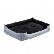 [en.casa]® Pelíšek - pro kočičky a pejsky - s oboustranným polštářem - oxford látka / PP-bavlna - 90 x 70 x 20 cm [XL] - šedý / černý