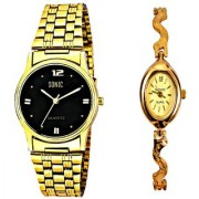 Black Dial And Golden Chain Men And Designer Ladies Watches