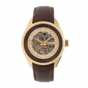 Heritor Automatic Desmond Skeleton Dial Leather-Band Watch - Gold/Gold/Brown HERHR6603