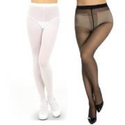 Neska Moda Women 2 Pair Black and White Panty Hose Long Comfort Stockings
