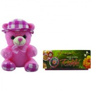 Teddy bear soft toy bearing cap with love for girls