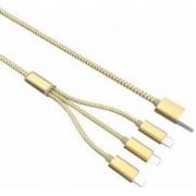Cablu de date Ldnio LC85 3 in 1 USB cu 2 mufe Micro USB si 1 mufa Lightning iPhoneiPad Auriu