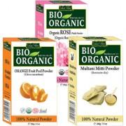 Indus Valley BIO Organic Multani Mitti Powder + Orange Peel Mask + Rose Petals Natural Powder- 3-in-1 Combo Set