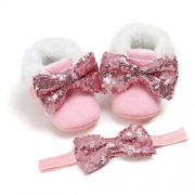 Tuoting Premium Baby Girls Booties Mary Jane Flats Princess Party Dress Shoes with Bow Headband for Newborns, Infants, Babies, and Toddlers (6-12 Months, M1929 Pink) ??