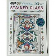 Set of 2 Adult Coloring Books with Colored Pencils -- Designer Series Welcome Home and Stained Glass: Inspired Designs