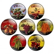 Button Bistro Women's Delicious Fruits & Veggies 1.25 inch Pinback Button Set #1
