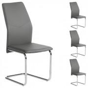 IDIMEX Lot de 4 chaises LEONA, en synthétique gris
