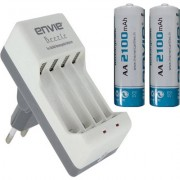 ENVIE AA 2100 mA Ni-mh Rechargeable (2 Pcs.) ECR20 (1 Pc.) Camera Battery Charger (White, Blue)