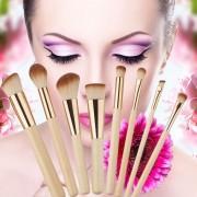 EW Bambú Maquillaje Mango Del Cepillo -8pcs-oro