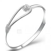 Dames Bangles Cuff armbanden Bruids Elegant Eenvoudige Stijl Kostuum juwelen Verzilverd Bloemvorm Sieraden Voor Bruiloft Feest Dagelijks