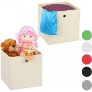 relaxdays opbergbox - set van 2 - stof - opvouwbaar - speelgoed - opbergmand - opbergen beige