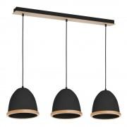 Homemania Černé závěsné svítidlo s dřevěnými detaily Studio Tres