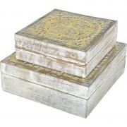 Decoris 2x Sieradenkistje/sieradenbox wit/goud van hout