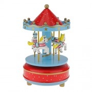 Segolike Merry Go Round Music Box w/ Steepletop Christmas Kid Birthday Present Carousel Musical Box Toy - red and sky blue