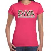 Bellatio Decorations Fout Diva lipstick t-shirt met panter print roze voor dames XS - Feestshirts