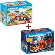 Комплект Плеймобил 5363 Противопожарна кола + Комплект Плеймобил 6685 Линейка