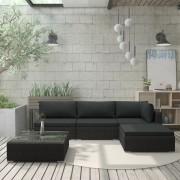 vidaXL Градински комплект с възглавници, 5 части, полиратан, черен