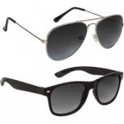 Voyage Aviator, Wayfarer Sunglasses(Black, Grey, Black, Violet)