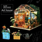 Christmas Themed Model Greenhouse, Lotus.Flower DIY Wooden Hand Assembled House Furniture Handcraft Miniature Box Creative Gift 3D Puzzle Educational Toy (A)