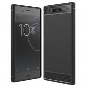 Capa de TPU Escovado para Sony Xperia XZ1 - Fibra de Carbono - Preto