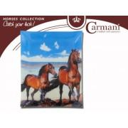 H.C.198-6014 Üvegtányér 20x28cm,lovak a tengerparton