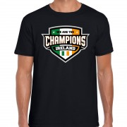 Bellatio Decorations We are the champions Ireland / Ierland supporter t-shirt zwart voor heren S - Feestshirts
