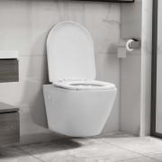 vidaXL Окачена тоалетна чиния без ръб, керамична, бяла