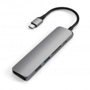 Satechi Slim USB-C MultiPort Adapter V2, HDMI, USB 3.0 portar, kortläsare, Space Grey