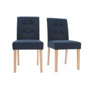 Silla diseño capitoné tejido azul patas madera lote de 2 ESTER - Miliboo