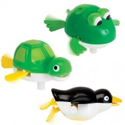 Bits and Pieces - Wind-Up Backstroke Swimmers - Frog, Turtle and Penguin Bathtub or Pool Toys