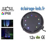 Bulleur Aquarium 9 LED Submersible Multi-couleur 10cm 12V ref bal-01
