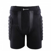 WOLFBIKE BC305 Rodillo de resistencia a caidas protectora acolchado de cadera Butt Pad Shorts para patinaje de patinaje sobre nieve - Negro (XL)