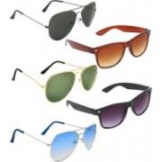 Zyaden Aviator, Aviator, Aviator, Wayfarer, Wayfarer Sunglasses(Black, Green, Blue, Brown, Black)