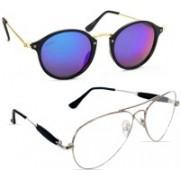 Criba Aviator, Oval Sunglasses(Clear, Multicolor)