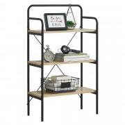 [en.casa]® Estante de pie - 101 x 60 x 28 cm - Estante de Almacenamiento - Soporte con 3 Baldas - Estantería - Organizador - Estructura en Acero Negro - Estantes color de madera