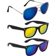 NuVew Aviator, Wayfarer Sunglasses(Blue, Golden, Green, Blue, Violet)
