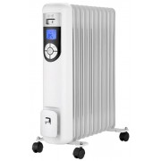 Calorifer electric cu ulei Teesa TSA8037, 11 Elementi, 3 Trepte incalzire, Termostat reglabil, Control automat temperatura, Temporizator, Ecran LCD (Alb/Negru)