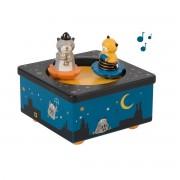 """Moulin Roty Caixa de música """"Les Moustaches""""Azul-Noite- TAMANHO ÚNICO"""